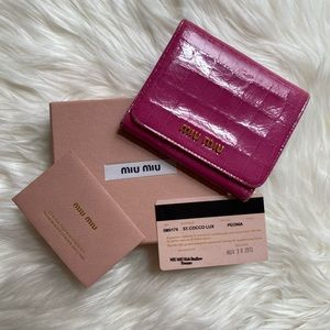 MIU MIU Crocodile Effect Patent Leather Wallet